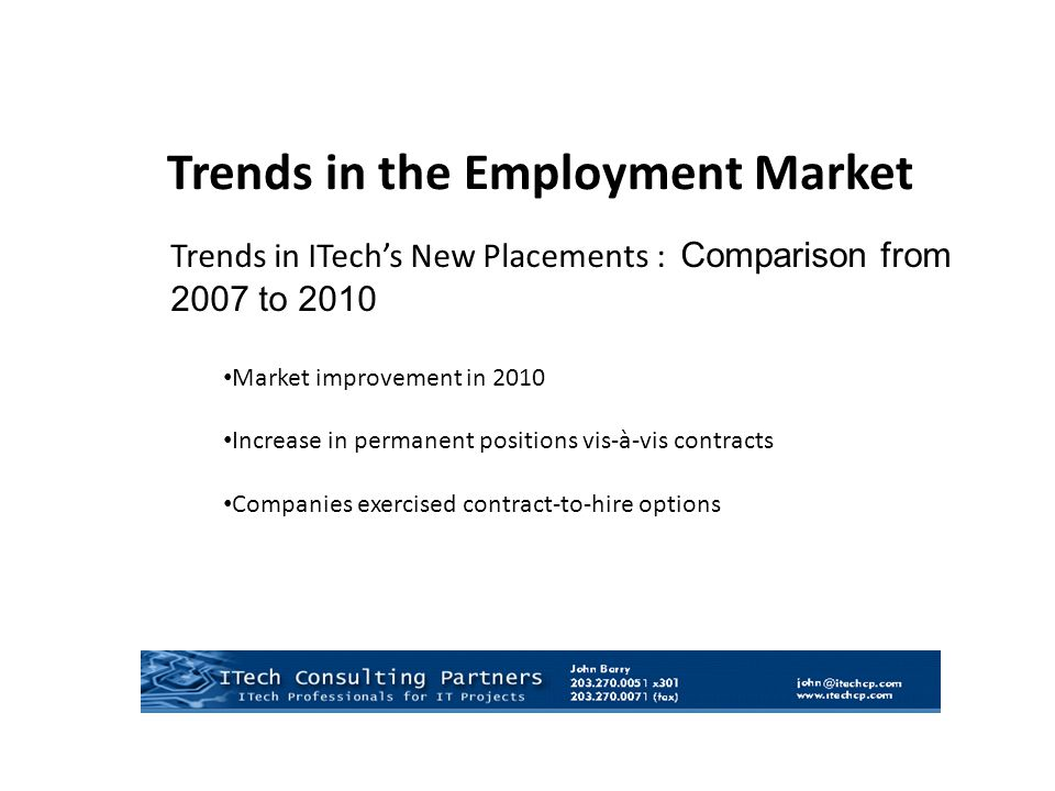 Trends in ITech's New Placements : Comparison from 2007 to 2010 Market improvement in 2010 Increase in permanent positions vis-à-vis contracts Companies exercised contract-to-hire options