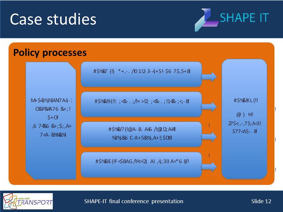 SHAPE-IT final conference presentation Slide 12 Policy processes Case studies