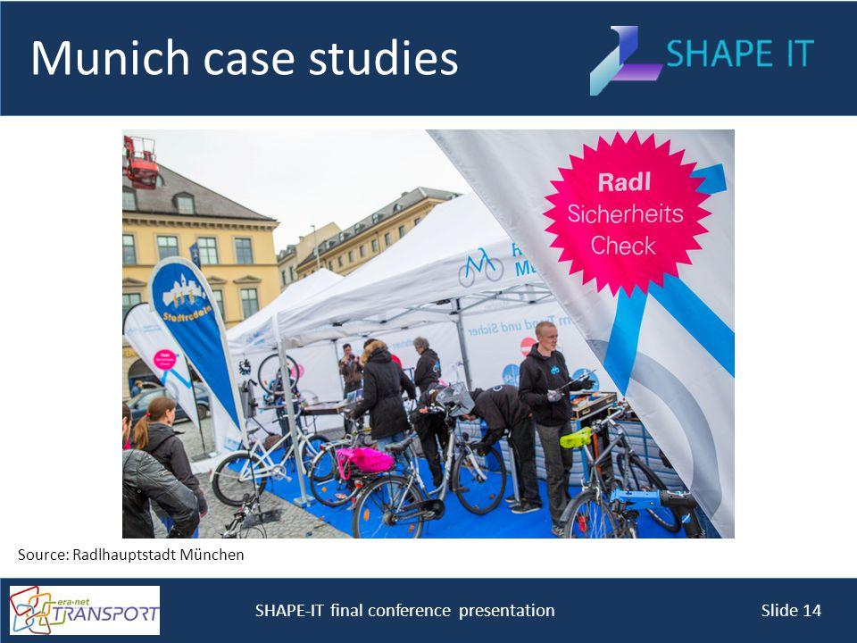 SHAPE-IT final conference presentation Slide 14 Munich case studies Source: Radlhauptstadt München
