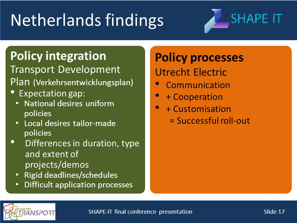 SHAPE-IT final conference presentation Slide 17 Netherlands findings Policy integration Transport Development Plan (Verkehrsentwicklungsplan) Expectation gap: National desires uniform policies Local desires tailor-made policies Differences in duration, type and extent of projects/demos Rigid deadlines/schedules Difficult application processes Policy processes Utrecht Electric Communication + Cooperation + Customisation = Successful roll-out