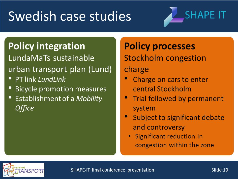 SHAPE-IT final conference presentation Slide 19 Swedish case studies Policy integration LundaMaTs sustainable urban transport plan (Lund) PT link LundLink Bicycle promotion measures Establishment of a Mobility Office Policy processes Stockholm congestion charge Charge on cars to enter central Stockholm Trial followed by permanent system Subject to significant debate and controversy Significant reduction in congestion within the zone