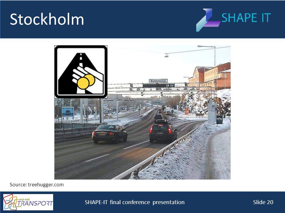 SHAPE-IT final conference presentation Slide 20 Stockholm Source: treehugger.com