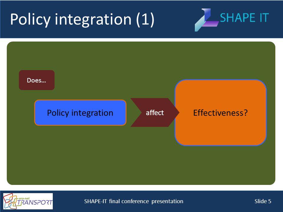 SHAPE-IT final conference presentation Slide 5 Effectiveness.