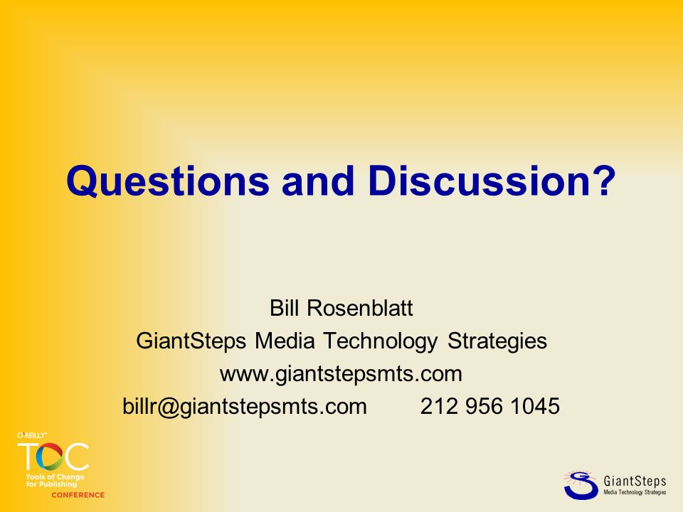 Questions and Discussion.