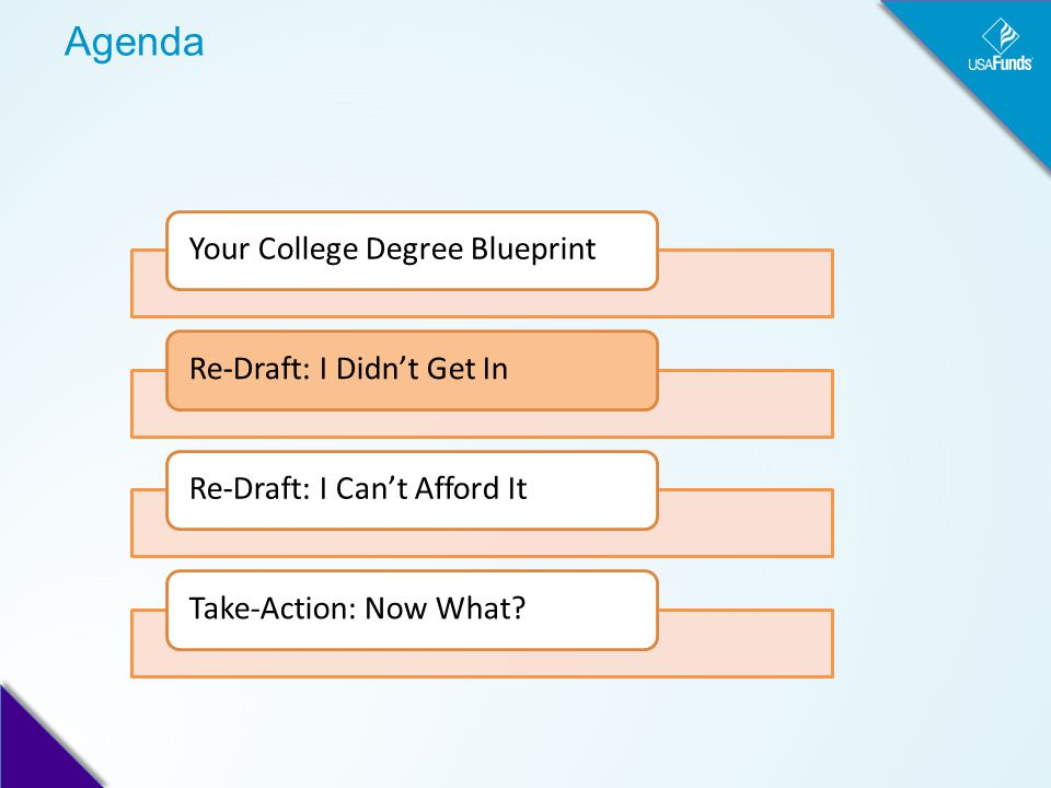 Agenda Your College Degree BlueprintRe-Draft: I Didn't Get InRe-Draft: I Can't Afford ItTake-Action: Now What?