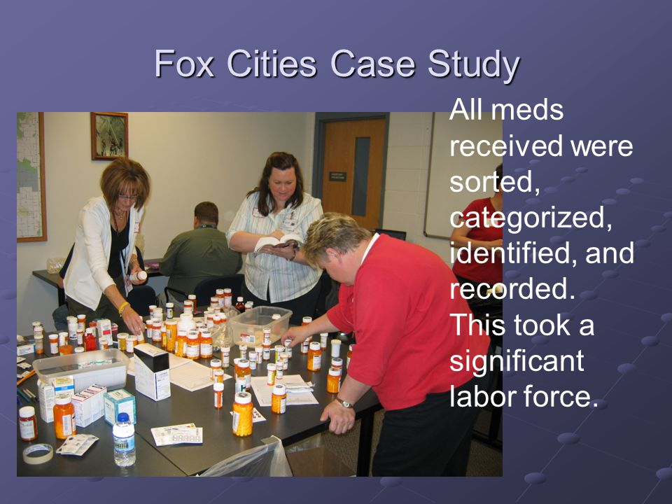 Fox Cities Case Study All meds received were sorted, categorized, identified, and recorded.
