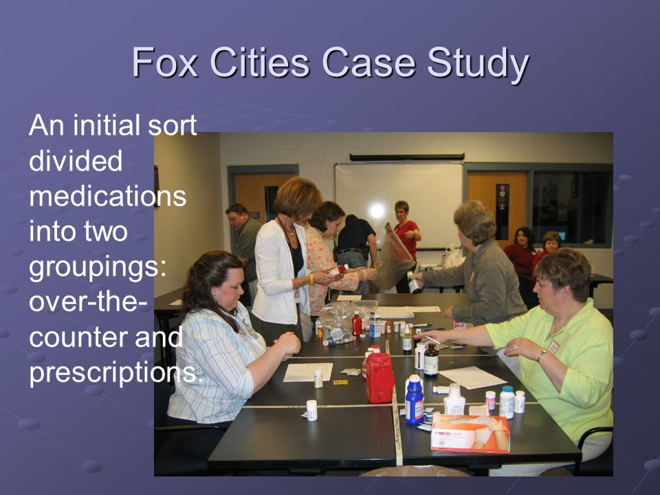 Fox Cities Case Study An initial sort divided medications into two groupings: over-the- counter and prescriptions.