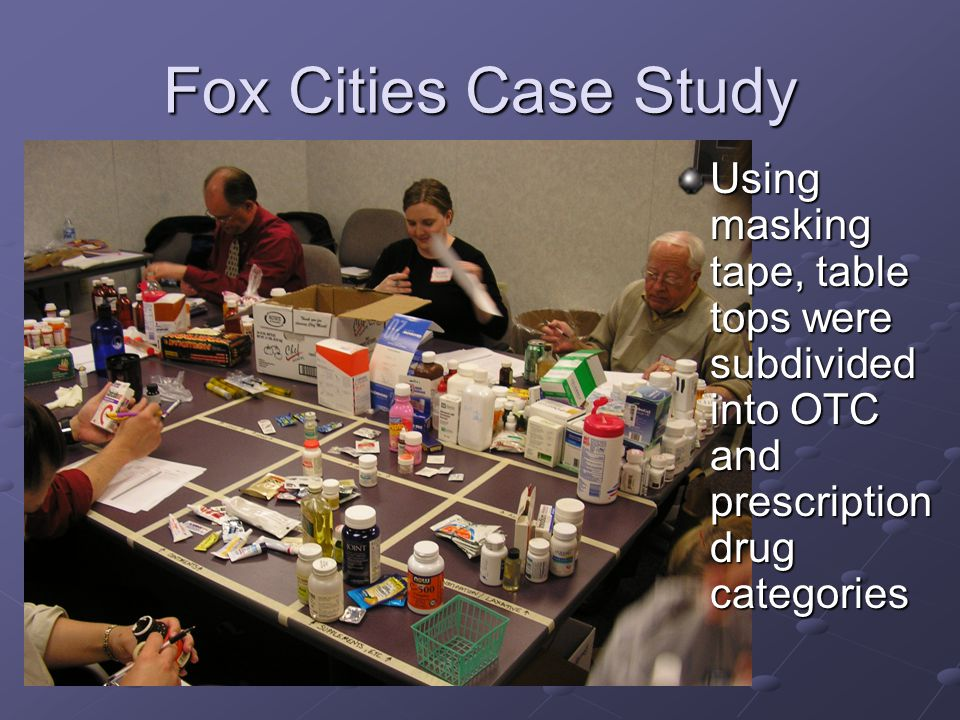 Fox Cities Case Study Using masking tape, table tops were subdivided into OTC and prescription drug categories