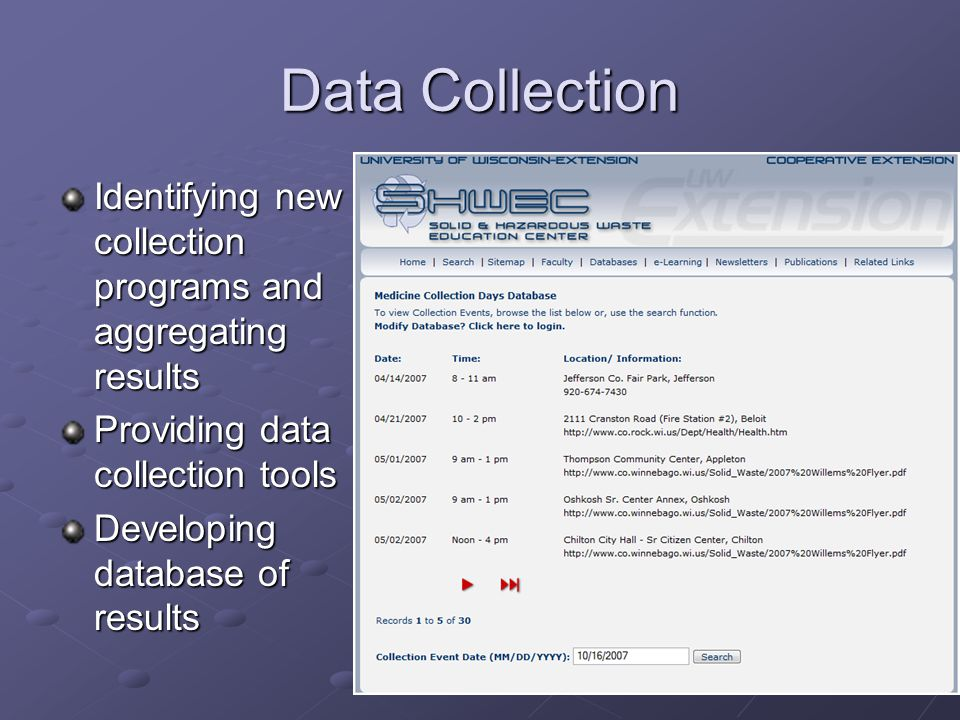 Data Collection Identifying new collection programs and aggregating results Providing data collection tools Developing database of results