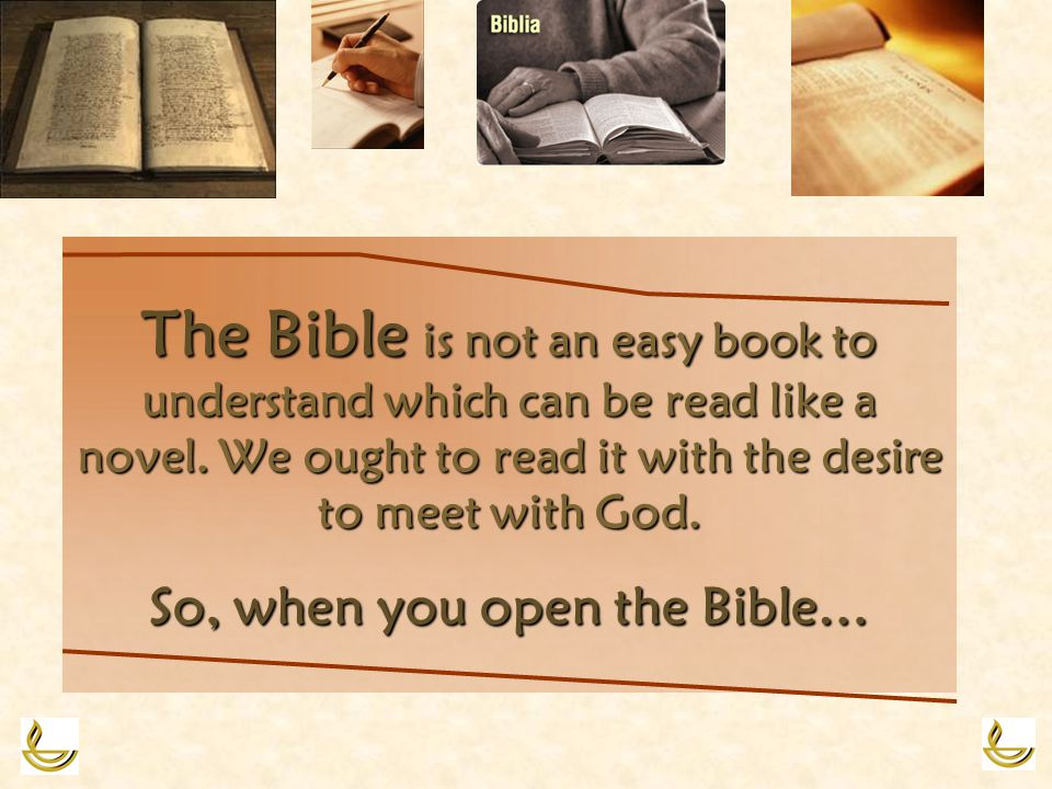 The Bible Bible is not an easy book to understand which can be read like a novel.
