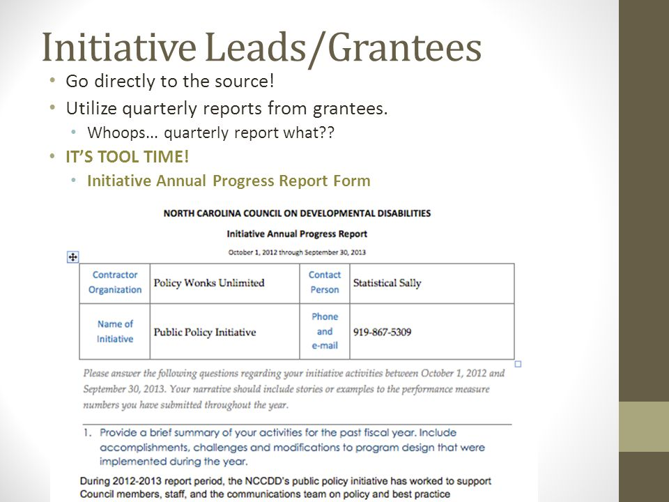 Initiative Leads/Grantees Go directly to the source.