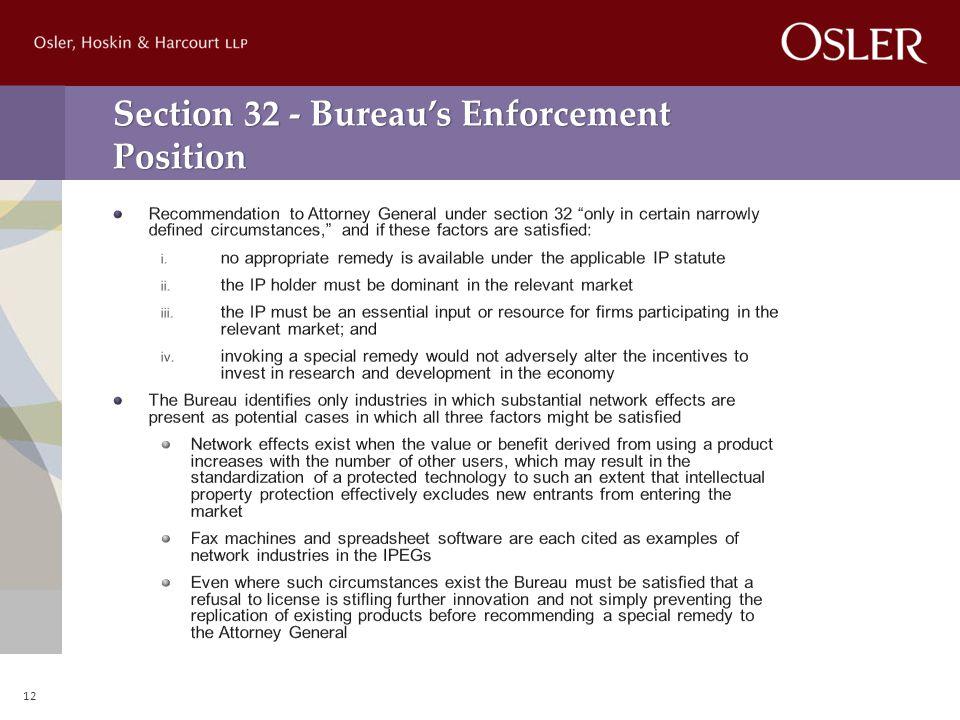 Section 32 - Bureau's Enforcement Position 12