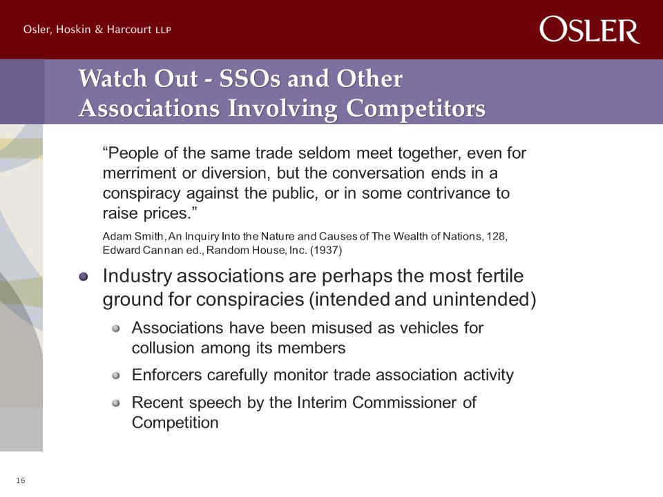 Watch Out - SSOs and Other Associations Involving Competitors 16