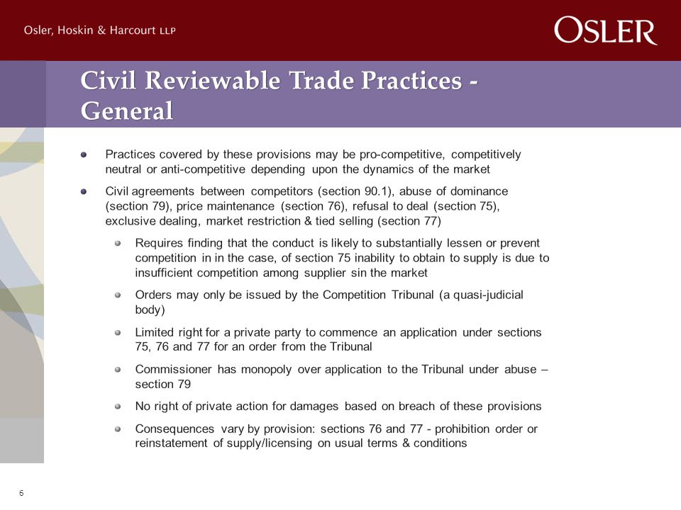 Civil Reviewable Trade Practices - General 6