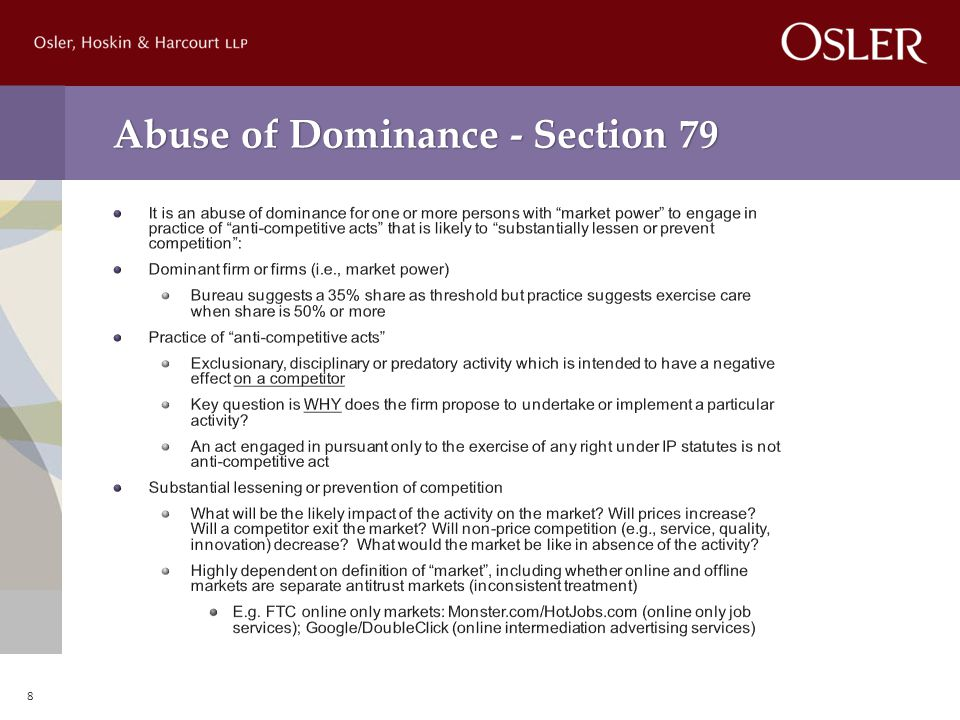 Abuse of Dominance - Section 79 8