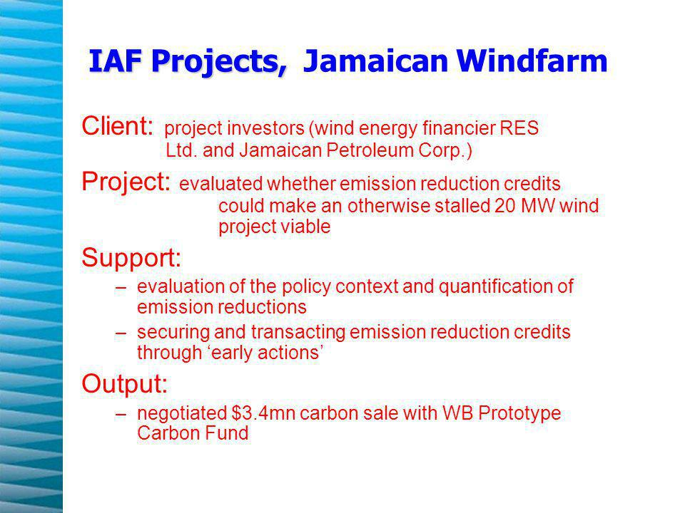 IAF Projects, IAF Projects, Jamaican Windfarm Client: project investors (wind energy financier RES Ltd.