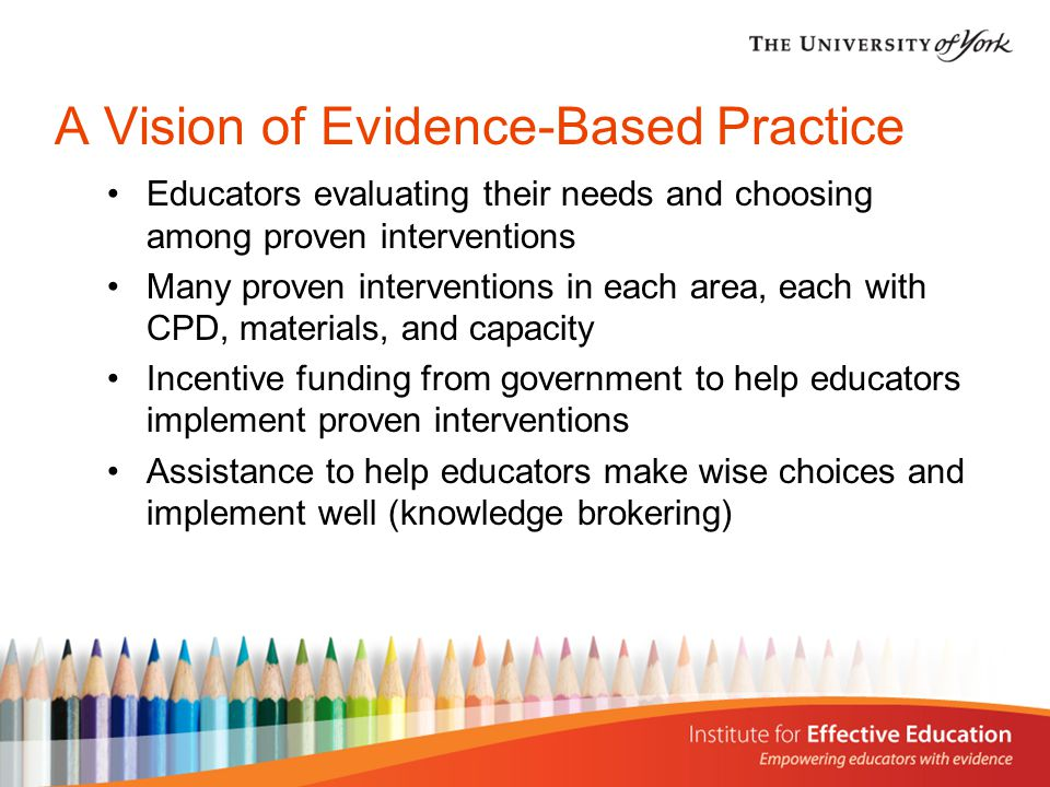 What Can We Learn from the History of Evidence-Based Practice National Diffusion Network (NDN) - US Comprehensive School Reform (CSR) - US Investing in Innovation (i3) - US Education Endowment Foundation (EEF) - UK