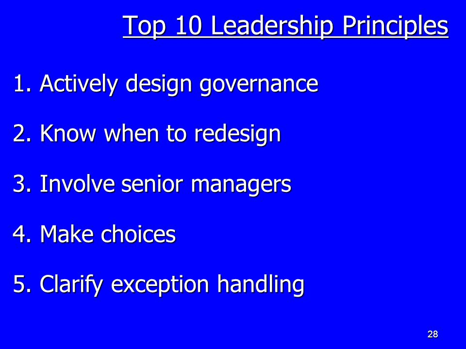 28 Top 10 Leadership Principles 1. Actively design governance 2.