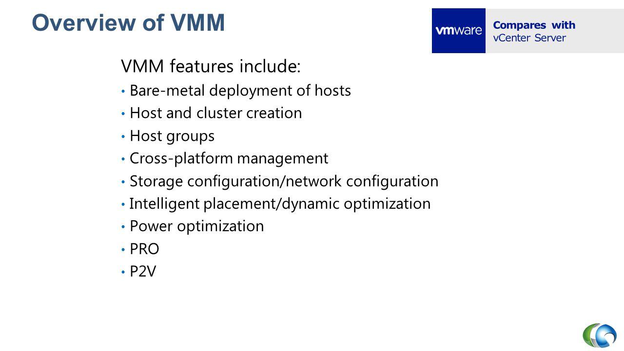 System Center Virtual Machine Manager Advantages V2V Migration P2V Migration (SP1) Windows PowerShell Wizard-based GUI Logical Networks Managing vSphere and Citrix Xen Disadvantages Does not uninstall VMware Tools