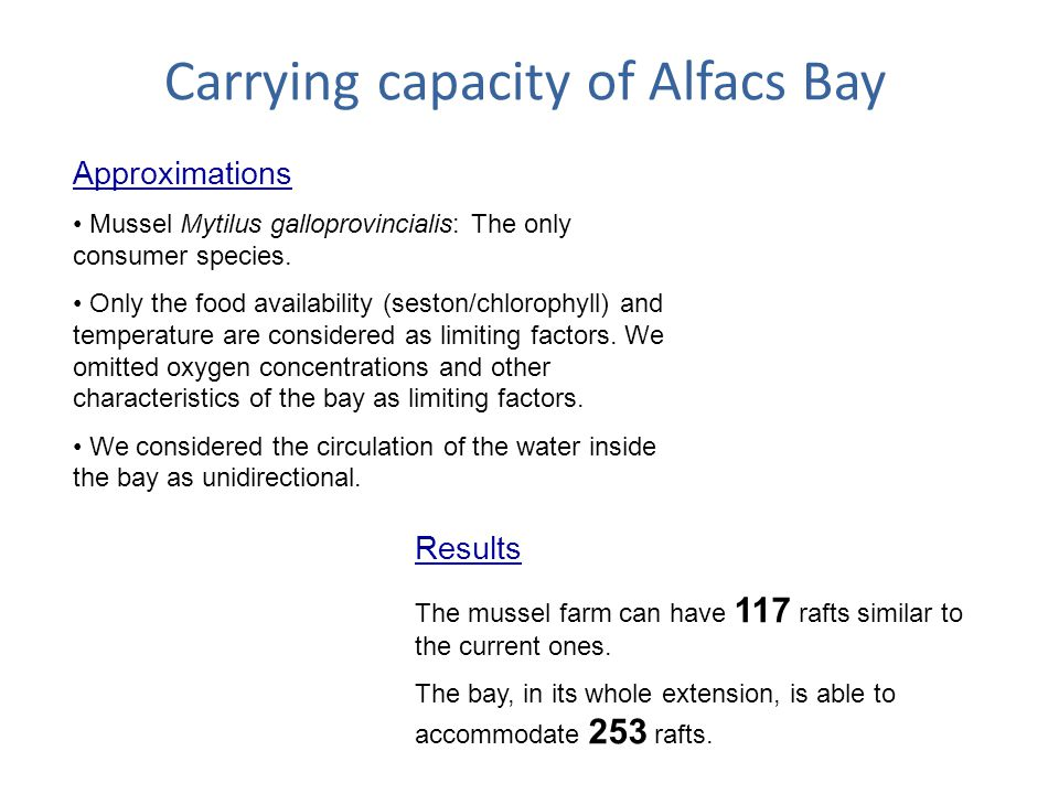 Carrying capacity of Alfacs Bay Approximations Mussel Mytilus galloprovincialis: The only consumer species.