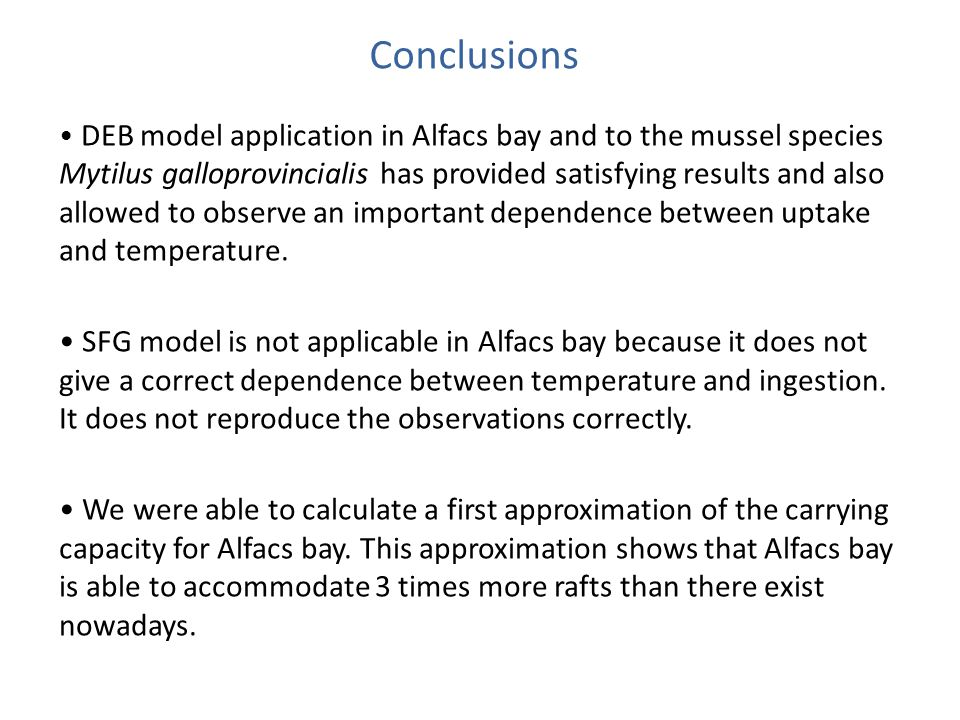 DEB model application in Alfacs bay and to the mussel species Mytilus galloprovincialis has provided satisfying results and also allowed to observe an important dependence between uptake and temperature.