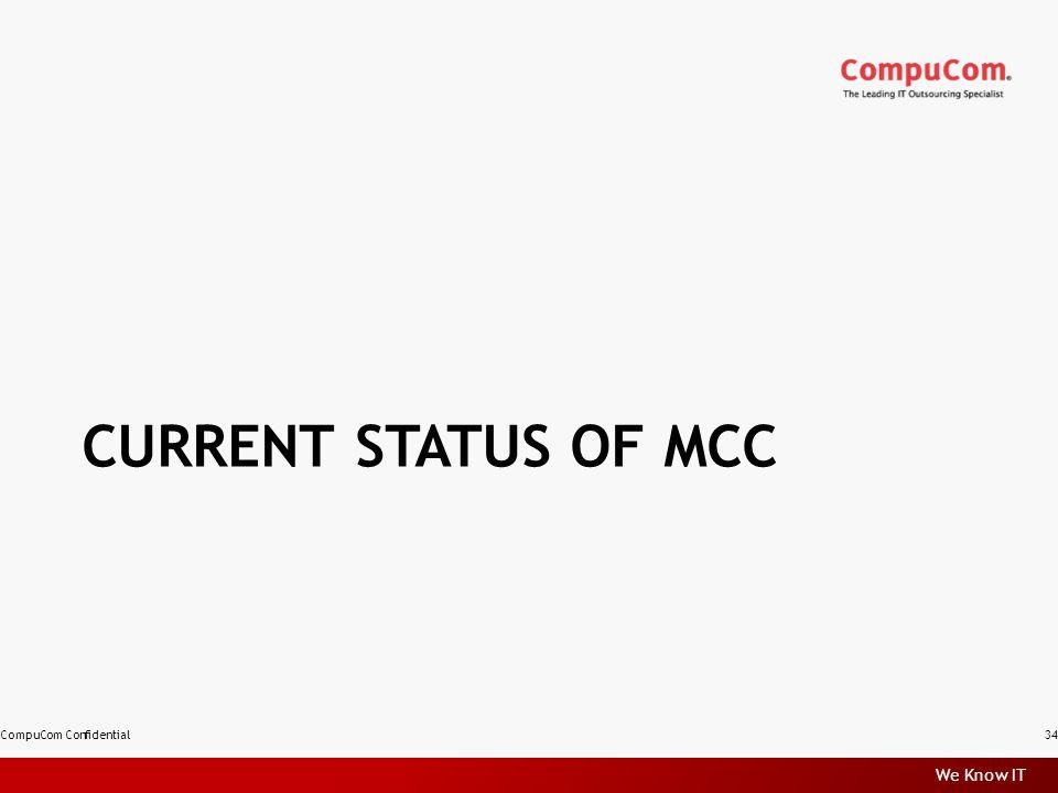 We Know IT CURRENT STATUS OF MCC CompuCom Confidential34