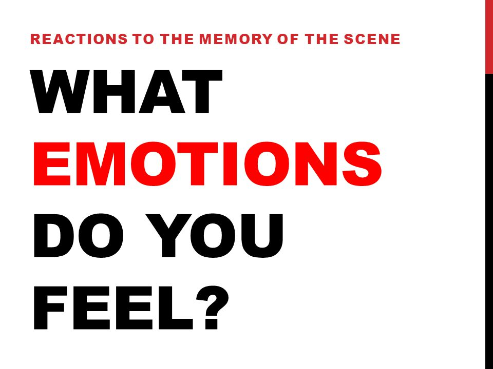 WHAT EMOTIONS DO YOU FEEL? REACTIONS TO THE MEMORY OF THE SCENE