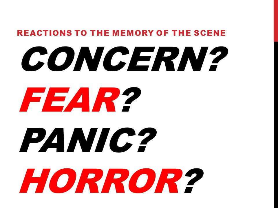 CONCERN FEAR PANIC HORROR REACTIONS TO THE MEMORY OF THE SCENE