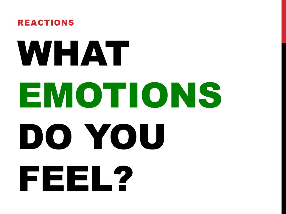 WHAT EMOTIONS DO YOU FEEL? REACTIONS
