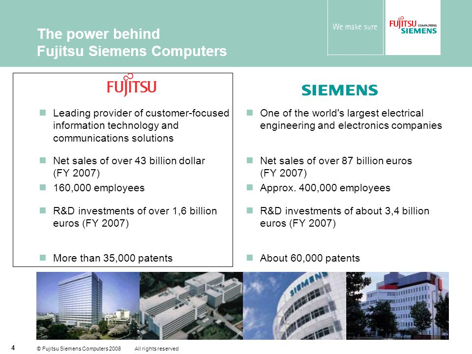 © Fujitsu Siemens Computers 2008 All rights reserved 5 Global Presence Strong presence in all key markets across EMEA In co-operation with our shareholders and partners we offer our global customers  Offices in more than 70 countries  Distribution in more than 180 countries  Own or partner service delivery capacity in more than 180 countries  Global products and services  Global Account Management  Global network with ISV's and system integrators AmericasAsia / PacificEMEA Footprint of Fujitsu Siemens Computers Footprint of Fujitsu, Siemens and global delivery partners Fujitsu Siemens Computers takes care for global products, services by Fujitsu, Siemens and global delivery partners
