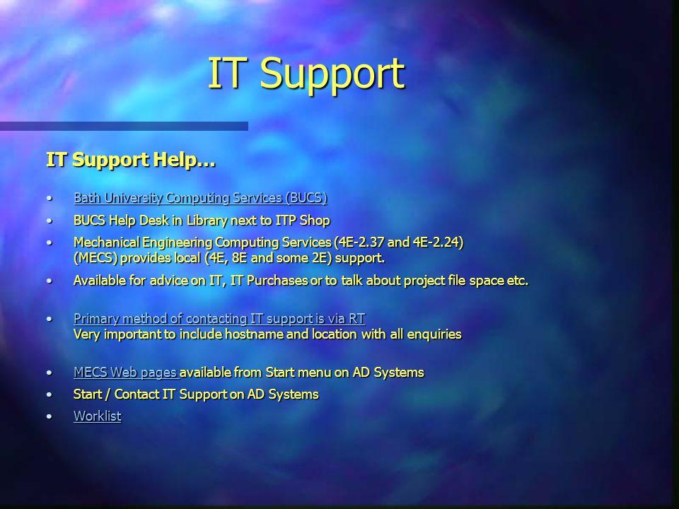 IT Support IT Support Help… Bath University Computing Services (BUCS)Bath University Computing Services (BUCS)Bath University Computing Services (BUCS