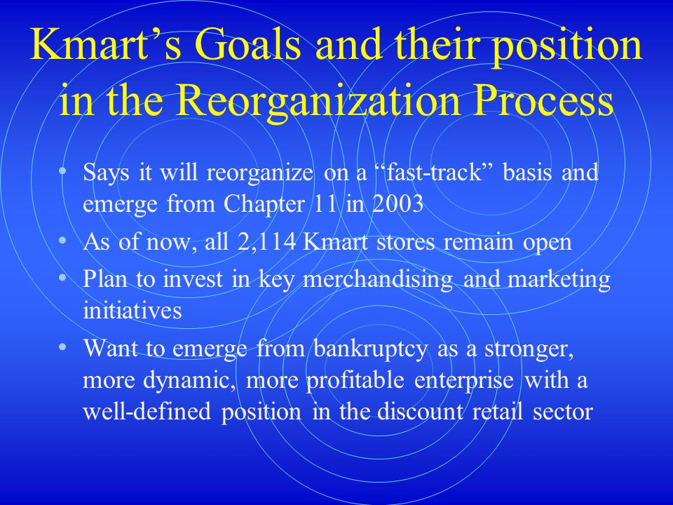 Kmart's Goals and their position in the Reorganization Process Says it will reorganize on a fast-track basis and emerge from Chapter 11 in 2003 As of now, all 2,114 Kmart stores remain open Plan to invest in key merchandising and marketing initiatives Want to emerge from bankruptcy as a stronger, more dynamic, more profitable enterprise with a well-defined position in the discount retail sector