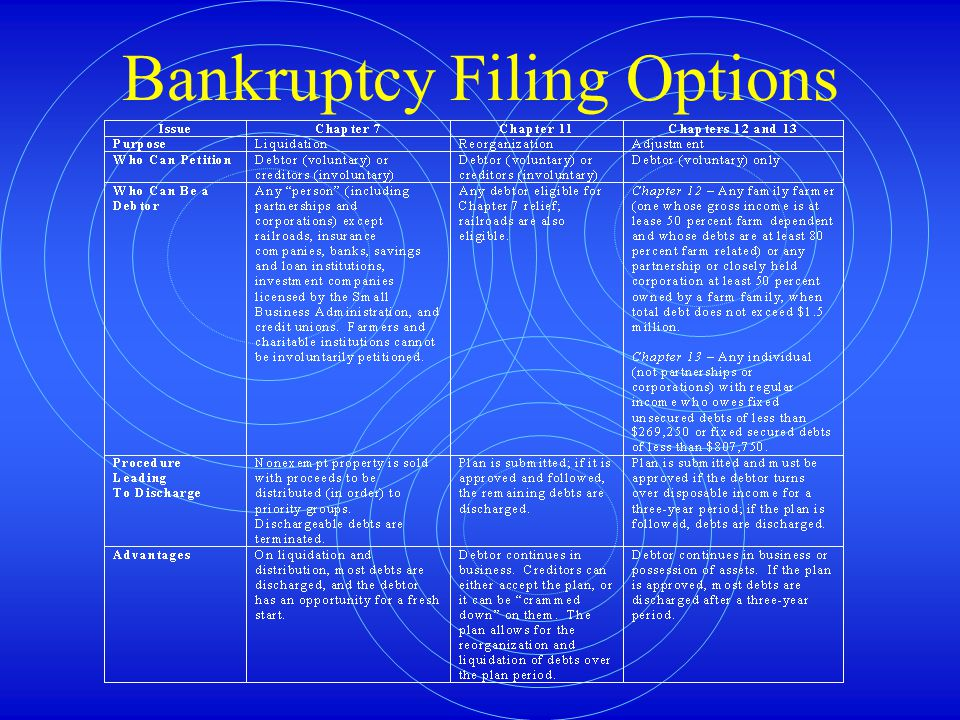 Bankruptcy Filing Options