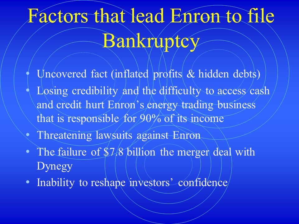 Factors that lead Enron to file Bankruptcy Uncovered fact (inflated profits & hidden debts) Losing credibility and the difficulty to access cash and credit hurt Enron's energy trading business that is responsible for 90% of its income Threatening lawsuits against Enron The failure of $7.8 billion the merger deal with Dynegy Inability to reshape investors' confidence