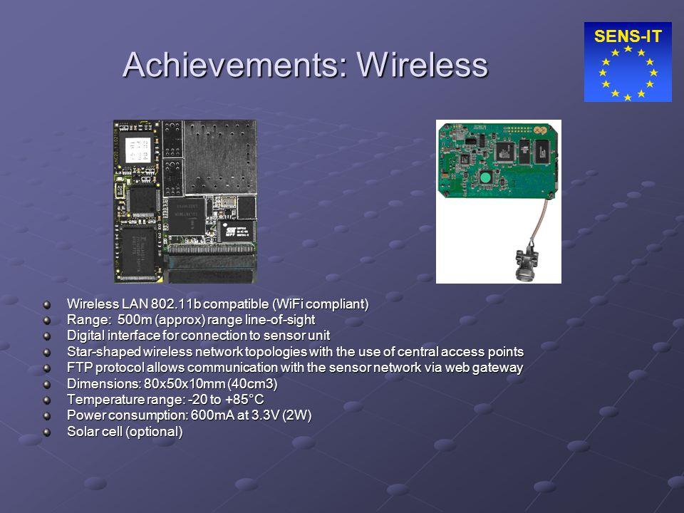 SENS-IT Achievements: Wireless Wireless LAN 802.11b compatible (WiFi compliant) Range: 500m (approx) range line-of-sight Digital interface for connect