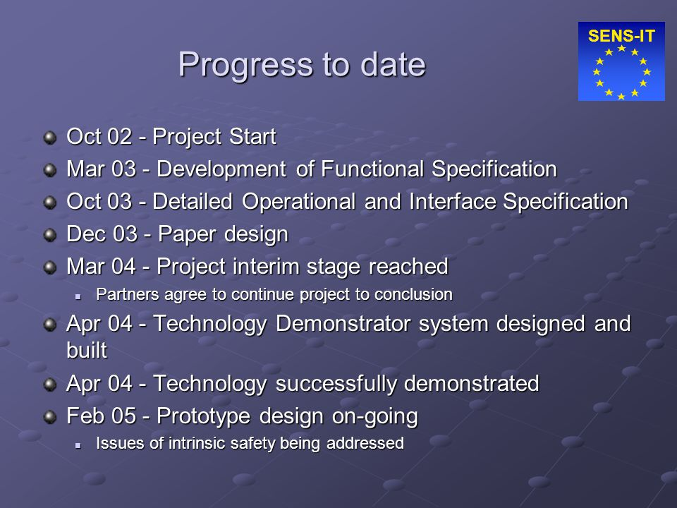 SENS-IT Progress to date Oct 02 - Project Start Mar 03 - Development of Functional Specification Oct 03 - Detailed Operational and Interface Specifica