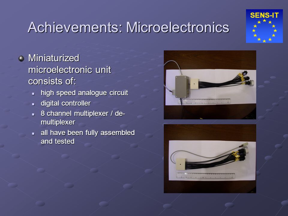 SENS-IT Achievements: Microelectronics Miniaturized microelectronic unit consists of: high speed analogue circuit high speed analogue circuit digital