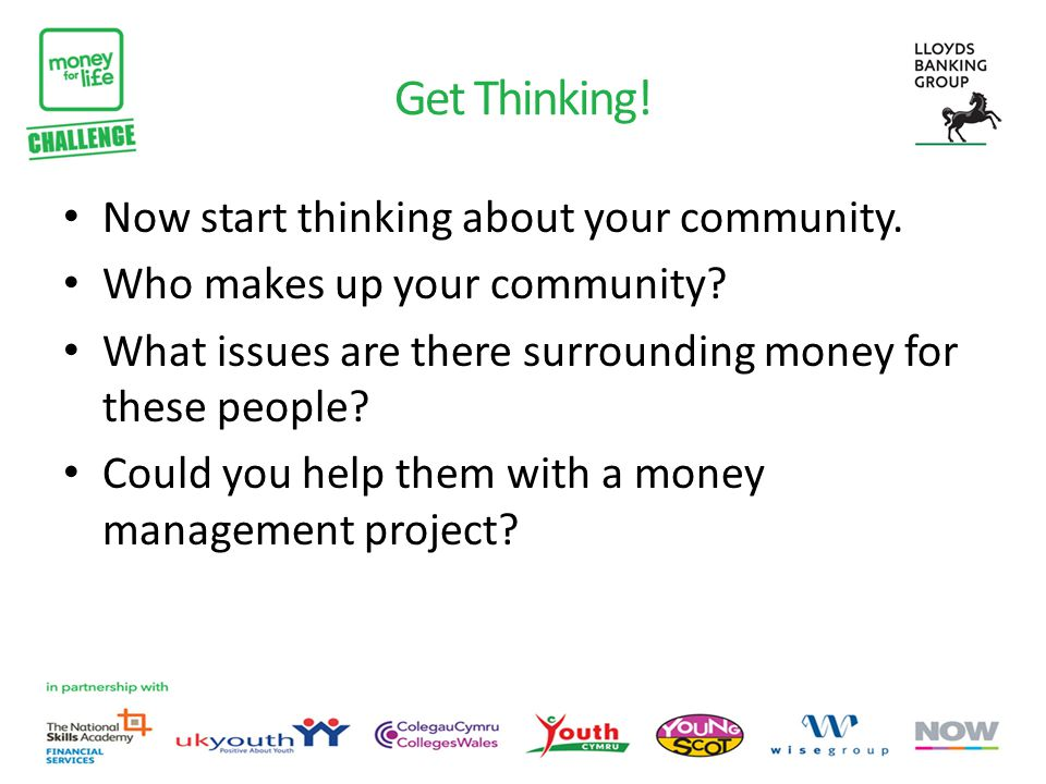 Get Thinking. Now start thinking about your community.