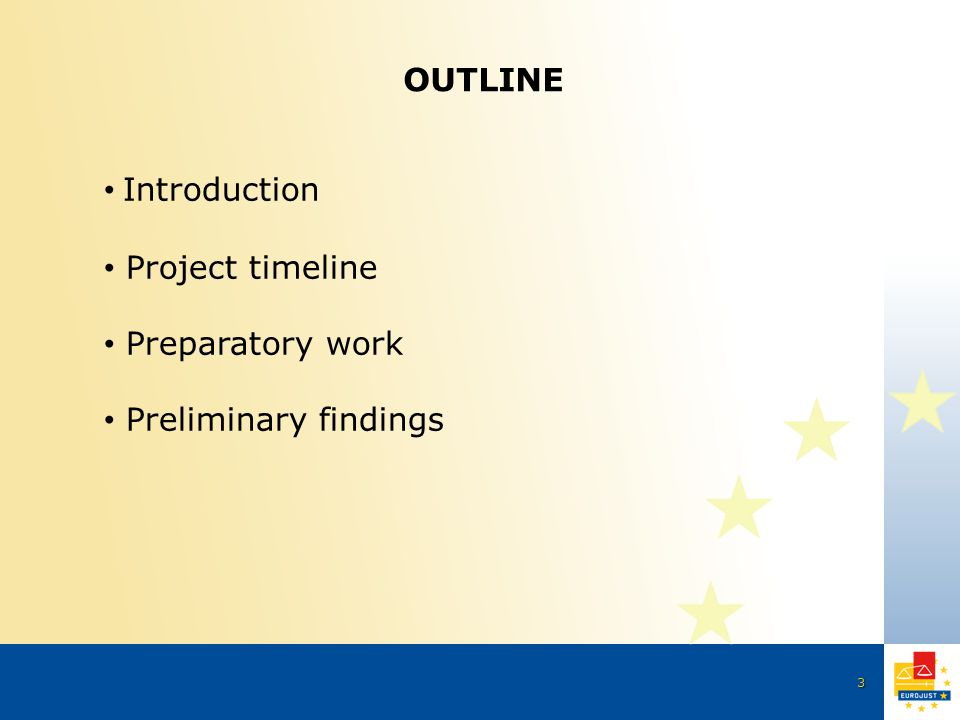 3 OUTLINE Introduction Project timeline Preparatory work Preliminary findings