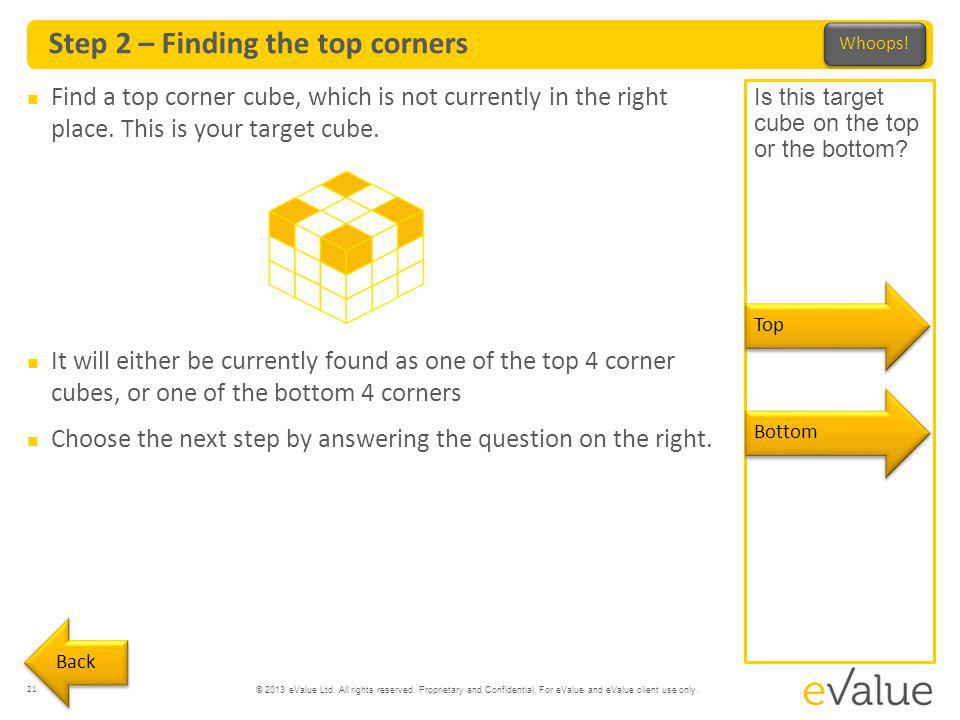 © 2013 eValue Ltd. All rights reserved. Proprietary and Confidential. For eValue and eValue client use only. Step 2 – Finding the top corners 21 Find