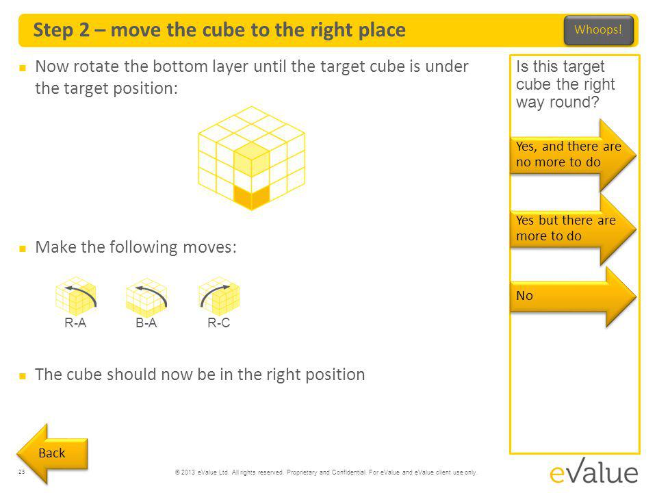 © 2013 eValue Ltd. All rights reserved. Proprietary and Confidential. For eValue and eValue client use only. Step 2 – move the cube to the right place