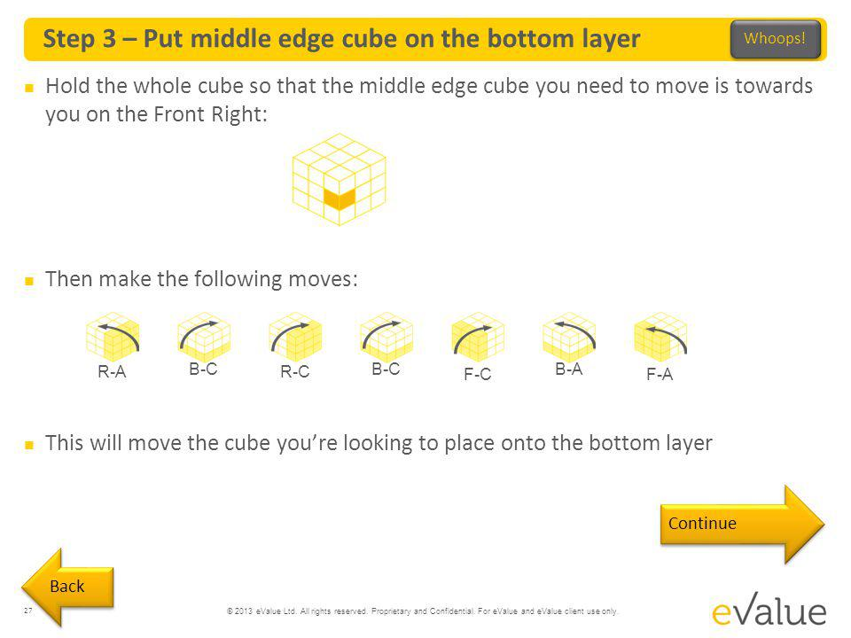 © 2013 eValue Ltd. All rights reserved. Proprietary and Confidential. For eValue and eValue client use only. Step 3 – Put middle edge cube on the bott