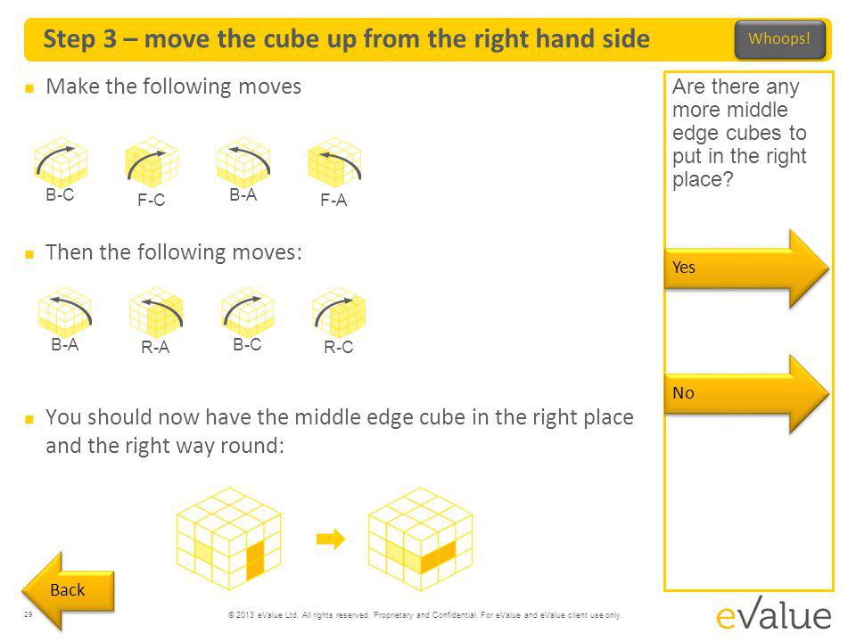 © 2013 eValue Ltd. All rights reserved. Proprietary and Confidential. For eValue and eValue client use only. Step 3 – move the cube up from the right