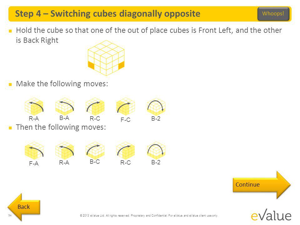 © 2013 eValue Ltd. All rights reserved. Proprietary and Confidential. For eValue and eValue client use only. Step 4 – Switching cubes diagonally oppos