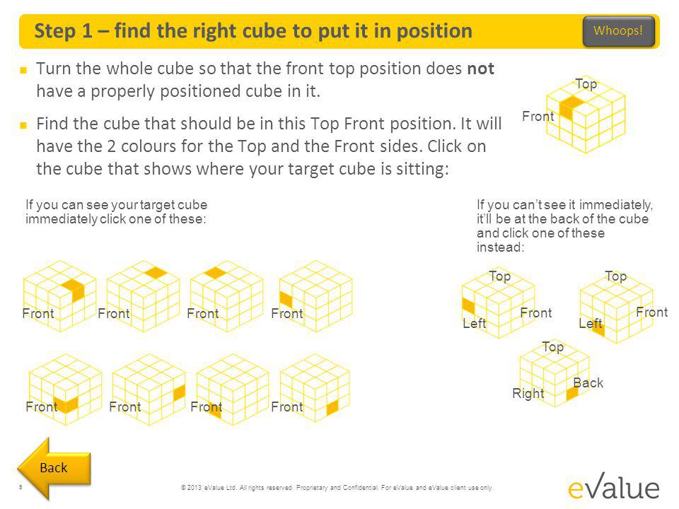 © 2013 eValue Ltd. All rights reserved. Proprietary and Confidential. For eValue and eValue client use only. Step 1 – find the right cube to put it in