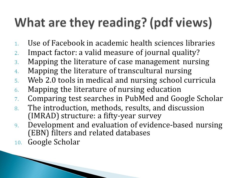 1.Use of Facebook in academic health sciences libraries 2.
