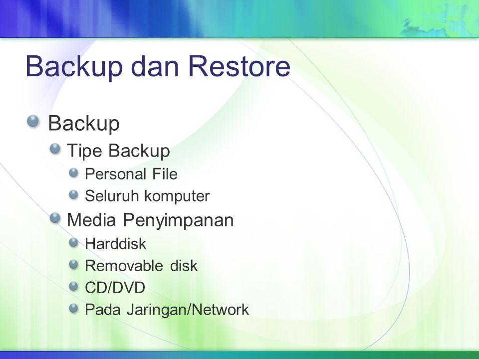 Backup dan Restore Backup Tipe Backup Personal File Seluruh komputer Media Penyimpanan Harddisk Removable disk CD/DVD Pada Jaringan/Network