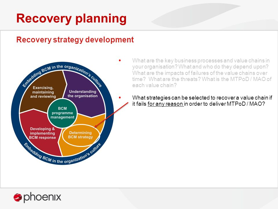 Recovery strategy development Recovery planning What are the key business processes and value chains in your organisation.