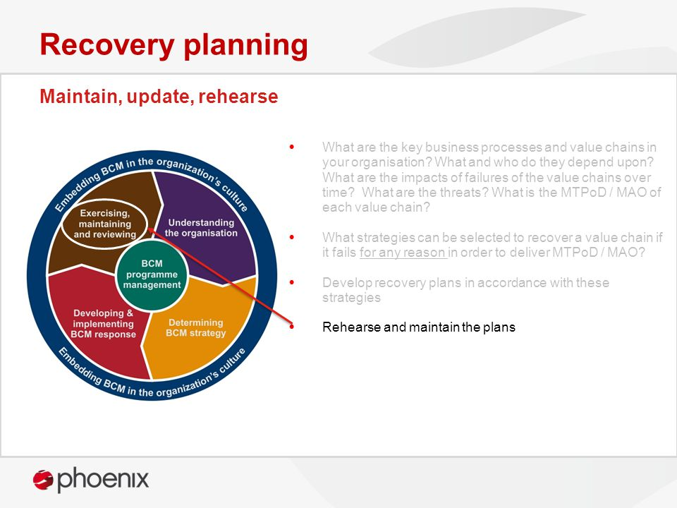 Maintain, update, rehearse Recovery planning What are the key business processes and value chains in your organisation.