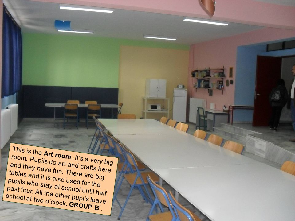 This is the Art room. It's a very big room. Pupils do art and crafts here and they have fun.